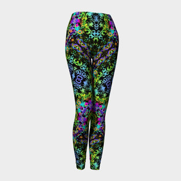 Tribal Tropic, Compression fit performance Leggings, XS,S,M,L,XL, Hand Made Activewear, Multicolor, Yoga pants