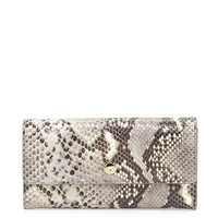 Kiera Embossed Leather Wallet, Black/Natural - Badgley Mischka