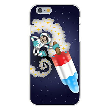 Apple iPhone 6 Custom Case White Plastic Snap On - 'Spaceman Rocket Popsicle' Funny Red White & Blue Patriotic Space Humor