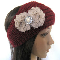 Brick Red Knit Ear Warmer Headband Head Wrap with Beige Swirl Chiffon Flowers and Matching Accent