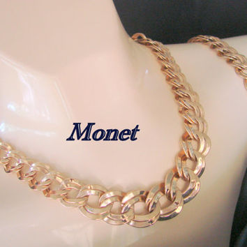 Vintage 80s Classic Monet Double Link Chunky Demi Parure / Necklace / Bracelet / Bright Gold Plate Links / Jewelry / Jewellery