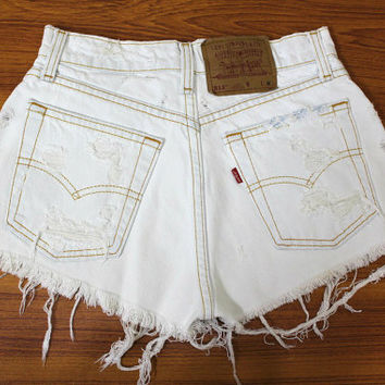 ALL SIZES - Vintage Levis Destroyed Frayed High Waisted Hipster Cutoff Denim Distressed Shorts - Half White