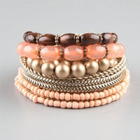 Full Tilt 9 Piece Wood/Gold/Peach/Coral Bracelets Peach One Size For Women 23468670601