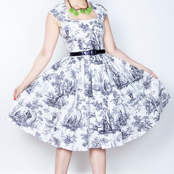 Veronique White Toile Dress (LAST ONE! XS)