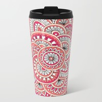 Coral, Peach & Magenta Wonderland Metal Travel Mug by Sarah Oelerich