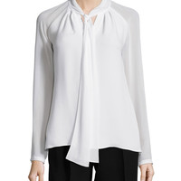 Louise Tie-Neck Silk Blouse, Size: