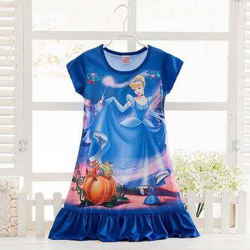 Cool Girls Christmas dress Cosplay Costume snow queen anna Dress Kids party dresses fantasia,Rapunzel snow white girl Pajamas DressAT_93_12