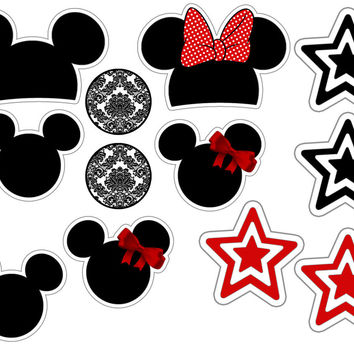12 Minnie and Mickey Star Collection Edible Rice Wafer Paper Cupcake Topper