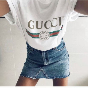 GUCCI Fashion Casual Letter Print Short Sleeve Tunic Shirt Top Blouse