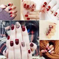 2017 Hot Red Fake Nail With Glitter Acrylic Full Cover False Nails Square Nail Art for Christmas Halloween Party HB88