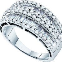 Bagguette Round Diamond Ladies Fashion Ring in 14k White Gold 1.2 ctw