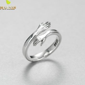 Flyleaf Brand 2017 Creative Hands Embrace Open Rings For Women Romantic Style Couple 925 Sterling-silver-jewelry