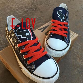 So Cool Houston Texan Walking Shoe Women Men Print Canvas Shoes Black And Blue Graffiti Lace-Ups Shoes Big Size Fans Gift