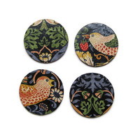 William Morris Strawberry Thief, Arts and Crafts, dark blue, red, beige fabric decoupage set of four cork coasters, drinks mats.