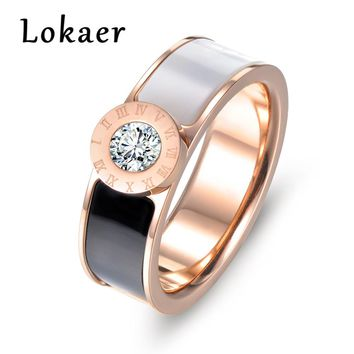 Lokaer Classic Stainless Steel Fine Brand Jewelry Resin And Shell Roman Alphabet Rings Bridal Wedding Engagement Ring Jewelry