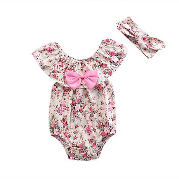2pcs/Set Newborn Toddler Baby Girl Clothes Lace Floral Romper bow-knot Jumpsuit Clothing Outfits + Headband