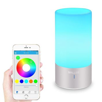LED Touch Bedside Bluetooth Speaker Dimmable Colour Night Light Outdoor Table Lamp