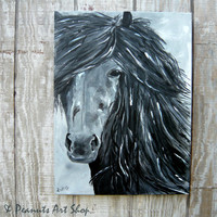 Black and White Portrait Horse Painting Blue Accents 18x24