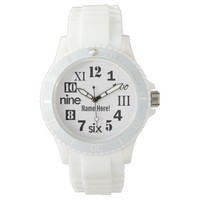 Typographic Playful Numbers Monogrammed Wrist Watch