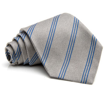 Kiton Silver with Blue Stripe Tie