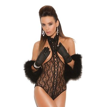 Plus Size Lace-Up Cupless Teddy