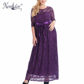 Nemidor High Quality Women Elegant O-neck Belted Party Lace Dress Plus Size 7XL 8XL 9XL Half Sleeve Vintage Long Maxi Dress