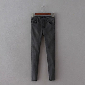 Summer Stretch Slim High Waist Jeans Cropped Pants [8173400711]