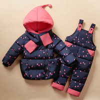 2016 Winter Children's Clothing Set Kids Ski Suit Overalls Baby Girls Down Coat Warm Snowsuits Jackets+bib Pants 2pcs/set 0-5T