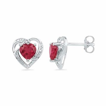 10kt White Gold Women's Round Lab-Created Ruby Heart Love Earrings 3-8 Cttw - FREE Shipping (USA/CAN)