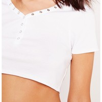 Missguided - Popper Front Crop Top White