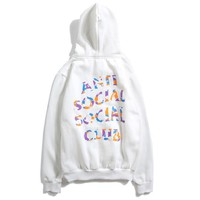 """Anti Social Social Club"" Bape Autumn Winter Fashionable Popular Letter Print Hoodie Sweater Top Sweatshirt White I13866-1"
