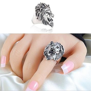 Occident 2016 Hot Vintage Trendy Cool Antique Silver Carved Lion King Finger Ring For Men Male Women Jewelry Gift Anelli Donna
