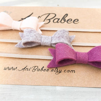Mulberry purple Felt Bow Headband Set, Cream Felt Bow Headband, Gray Felt Bow Headband, Felt Bow headband set, Baby Bow Headbands