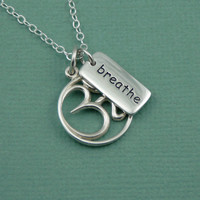 Breathe Om Charm Necklace - sterling silver handmade yoga jewelry - zen gift