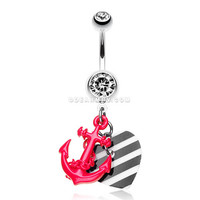 Vibrant Anchor Nautical Heart Belly Ring (Pink)