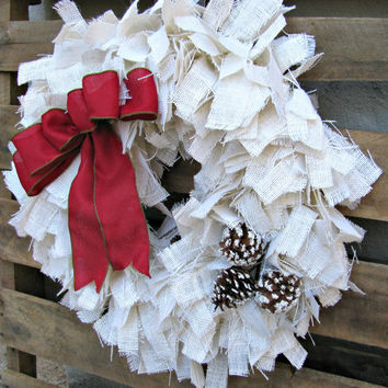 Burlap Christmas Rag Wreath
