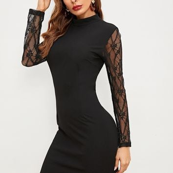 Black Contrast Lace Sleeve Scallop Short Dress