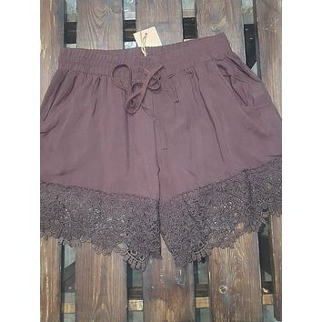 Brown Shorts with Lace Trim