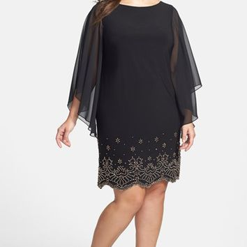 Plus Size Women's Xscape Embellished Hem Chiffon Dress,
