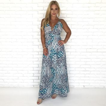Tranquility Floral Turquoise Maxi Dress