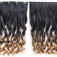 "Dip dye hairpieces New Fashion 24"" Women Clip in on gradient wig Bath & Beauty Hair Ombre Hair Extensions Two Tone Curly Hair Gradient Hair Extension Colorful Hairpieces GS-888 Black T 27,1PCS"