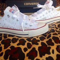 Ombr¨¦ Effect Rhinestone Converse with Ribbon Laces