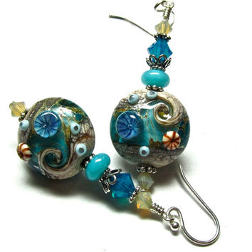 Beach Earrings Ocean Earrings Lampwork Earrings Turquoise Earrings Glass Earrings Artisan Earrings Beaded Earrings Glass Bead Earrings
