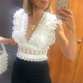 Caterina Frill Detail White Crop Top