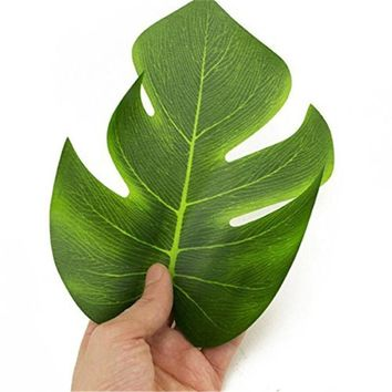 12pcs 8 Inch Tropical Faux Green Leaves Artificial Monstera leaf Fabric Hawaiian Luau Party Decorations fake leaves drop ship