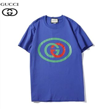 GUCCI Summer New Fashion Bust Letter Print Women Men Sports Leisure Top T-Shirt Blue