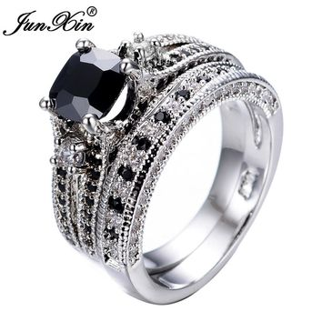 JUNXIN Brand Gorgeous Male Female Black Ring High Quality 10KT White Gold Filled Jewelry Vintage Wedding Rings For Men And Women
