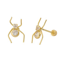 Spider Earrings 10k Yellow Gold with Screwbacks 11x7