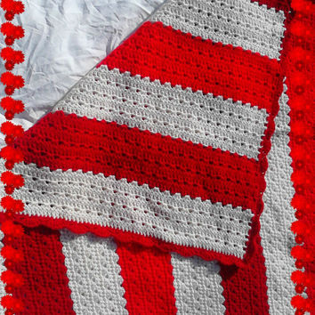 Red and White Warm Crocheted Lap Afghan Handmade 54x40 in Valentine's Gift