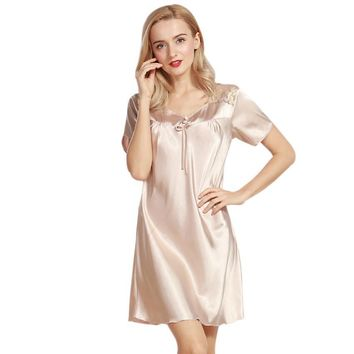 Luxurious Women Nightgowns New Faux Silk Lady Summer Sleepshirts Female Dressing Gowns Sleep Lounge Woman